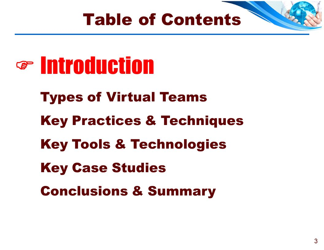  Introduction Table of Contents Types of Virtual Teams