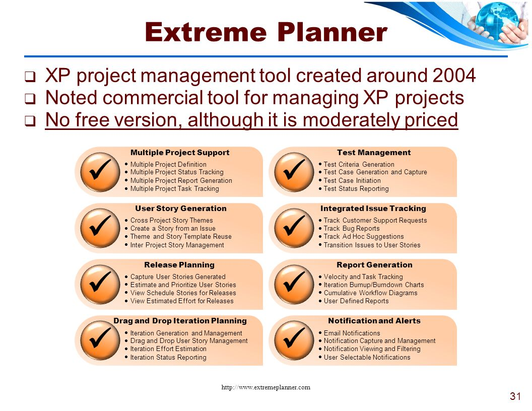  Extreme Planner XP project management tool created around 2004