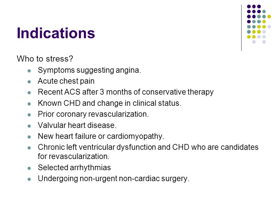 Indications Who to stress Symptoms suggesting angina.