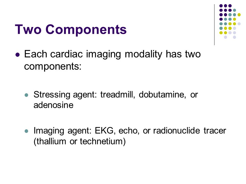 Two Components Each cardiac imaging modality has two components:
