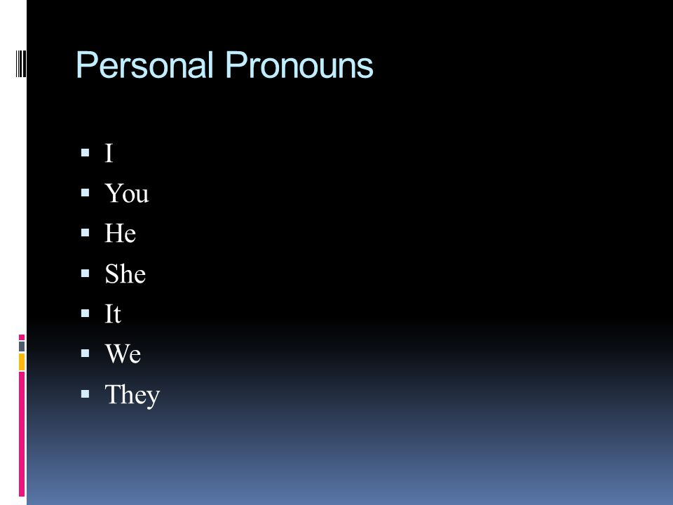 Personal Pronouns I You He She It We They