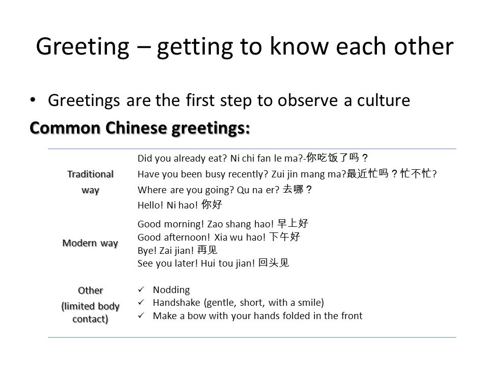 An intoduction to chinese business etiquette ppt video online download 17 greeting getting m4hsunfo