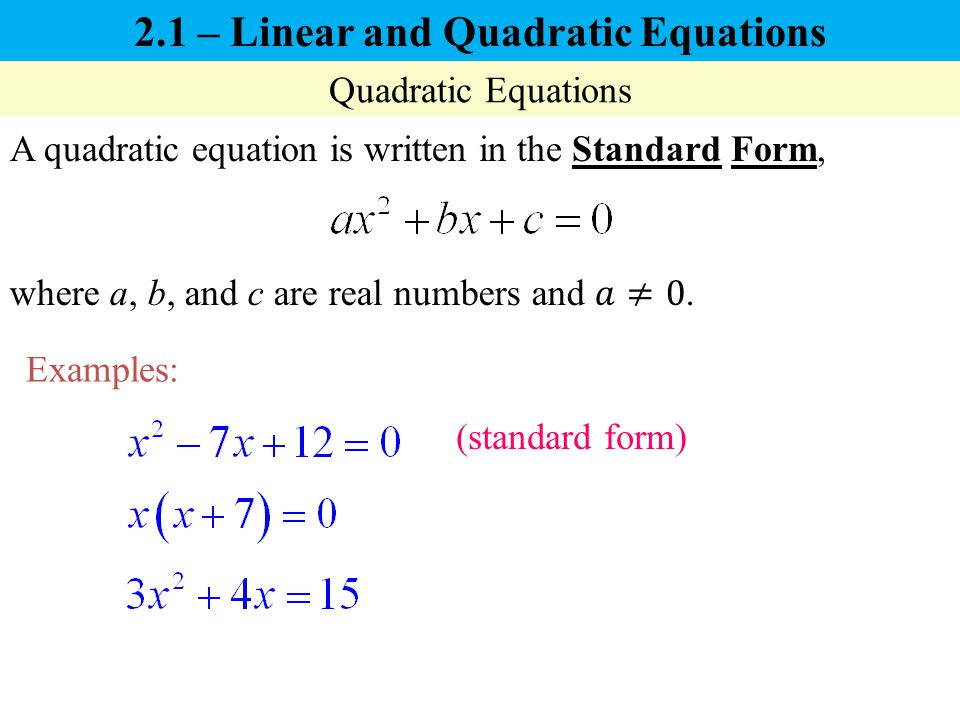 2 1 – Linear and Quadratic Equations - ppt video online download