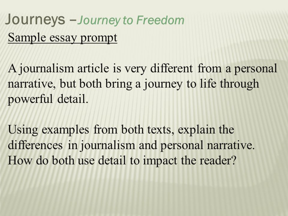 Important Of English Language Essay  Journeys Journey To Freedom Essays On The Yellow Wallpaper also Science Essay Area Of Study Journeys  Ppt Download Model English Essays