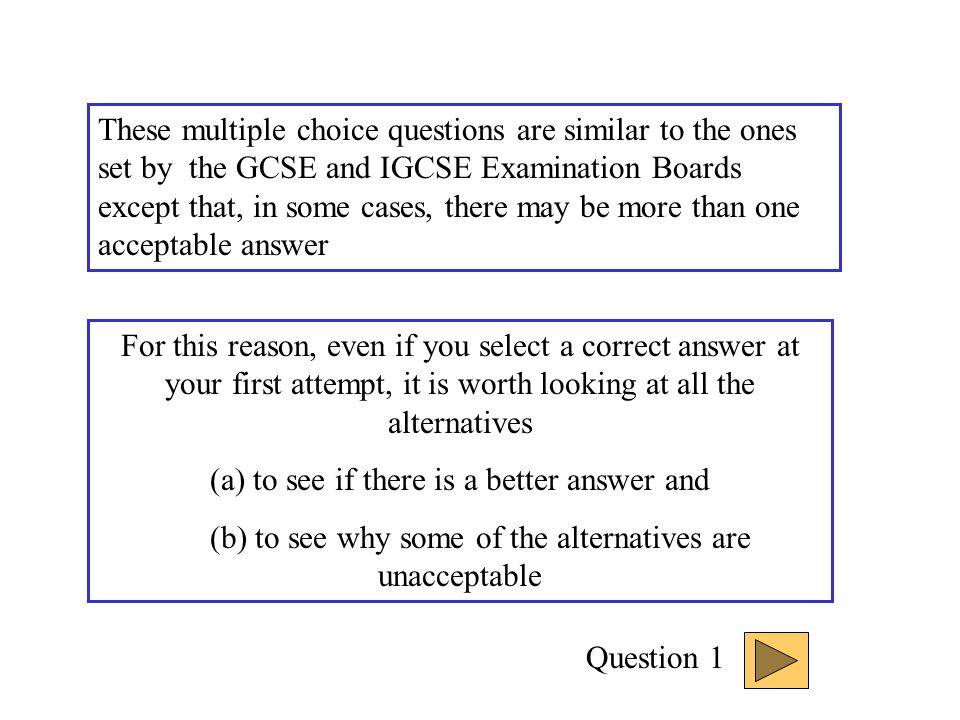 INTERACTIVE MULTIPLE CHOICE QUESTIONS Organisms and their