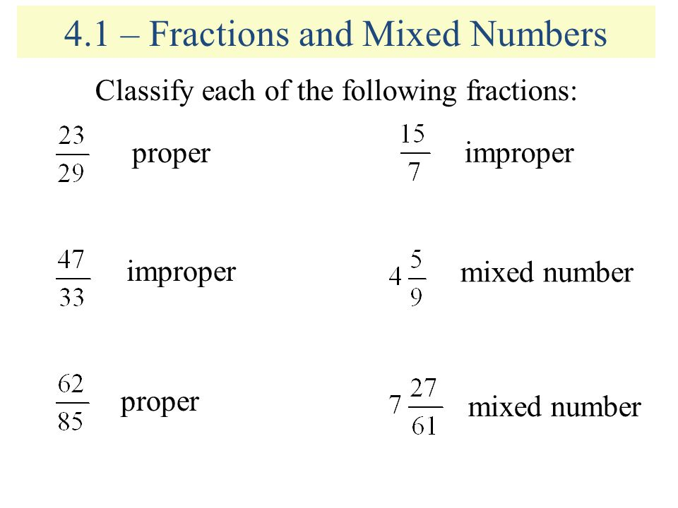 4 1 Fractions And Mixed Numbers