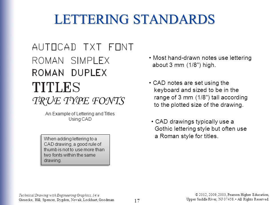 An Example of Lettering and Titles Using CAD