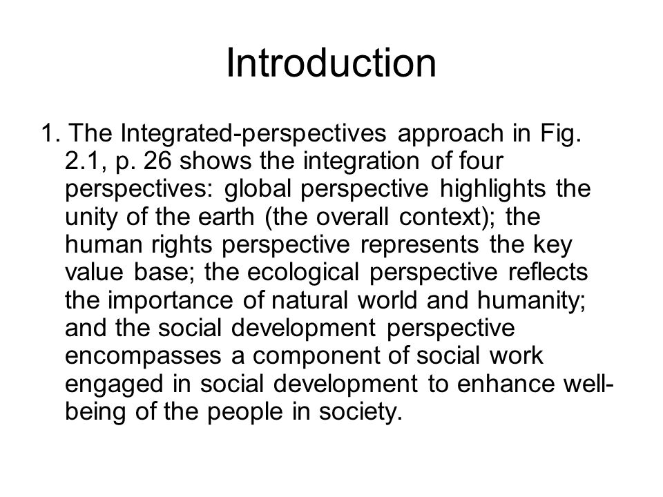 Introduction 1  The Integrated-perspectives approach in Fig  2 1, p