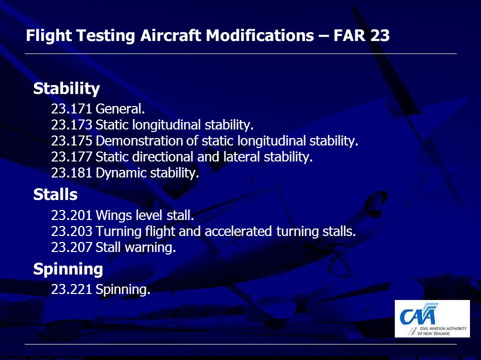 FAR 23, Modifications and Flight Test - ppt video online