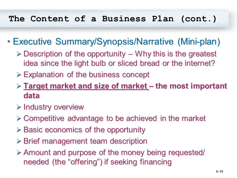 The Content Of A Business Plan Cont