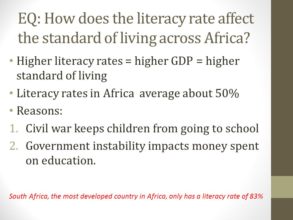 EQ: How does the literacy rate affect the standard of living across Africa