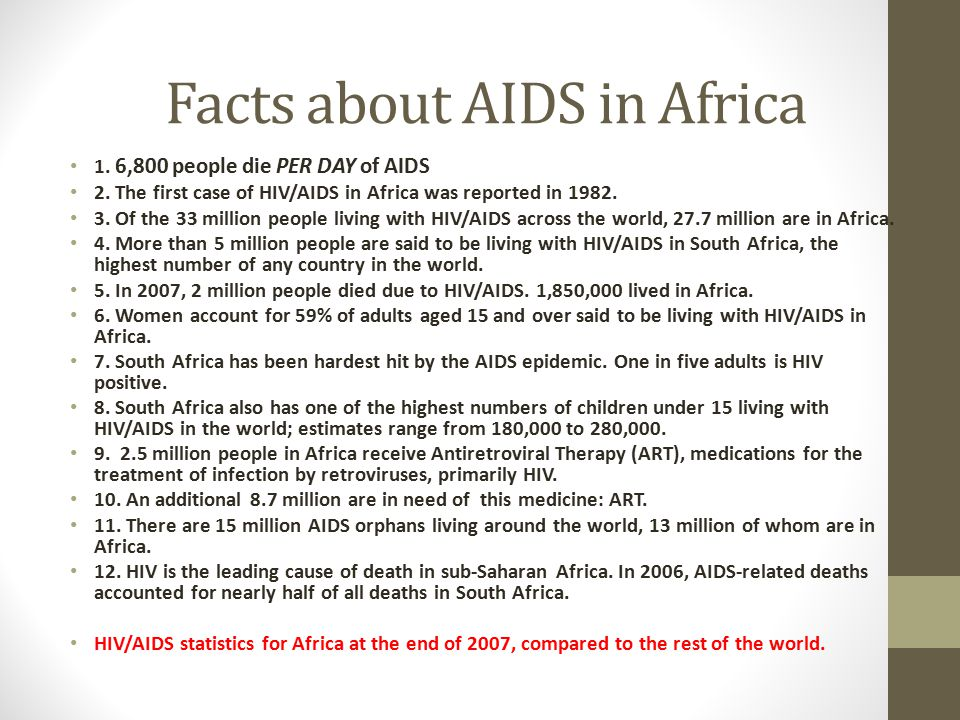 Facts about AIDS in Africa
