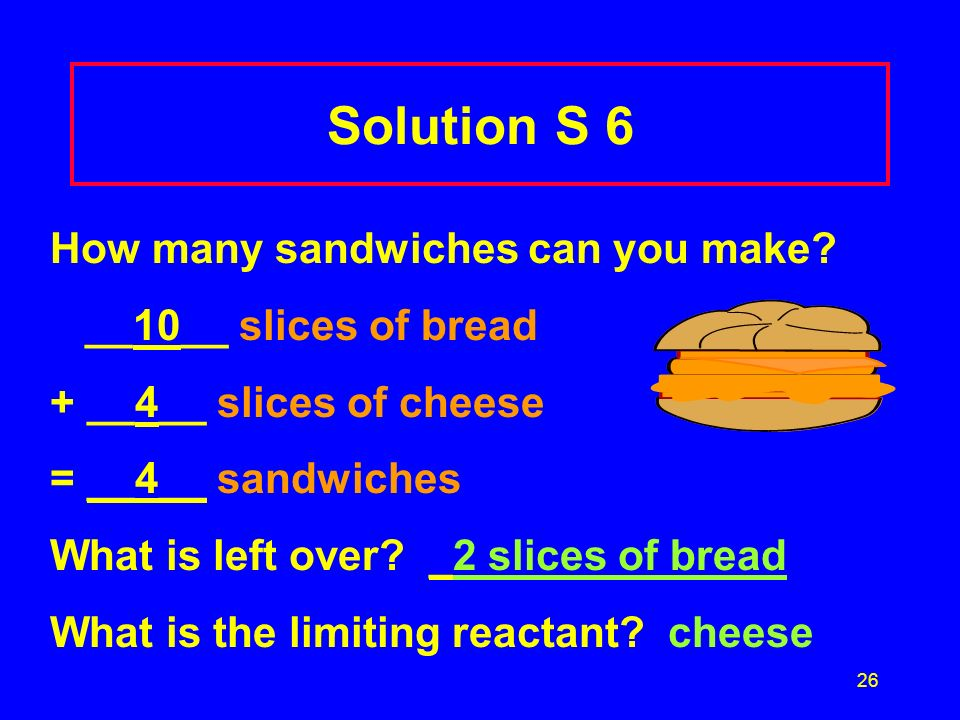 Solution S 6 How many sandwiches can you make __10__ slices of bread