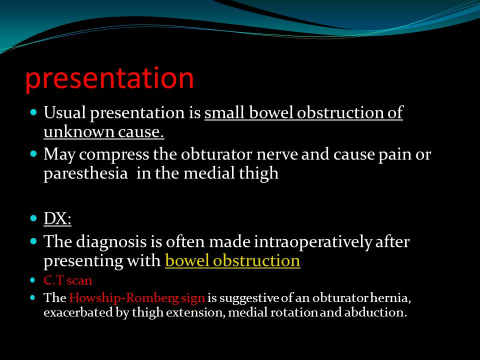 presentation Usual presentation is small bowel obstruction of unknown cause.