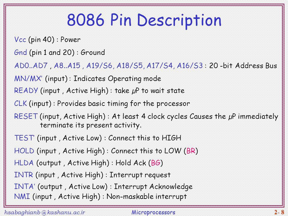 Microprocessor 8086 pin configuration.