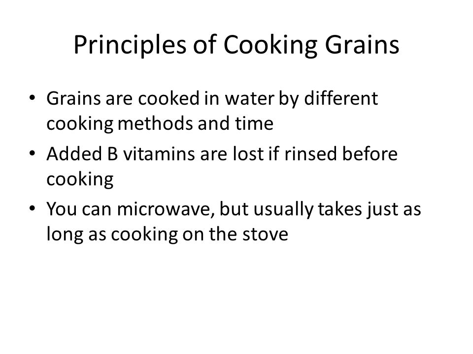 Principles of Cooking Grains