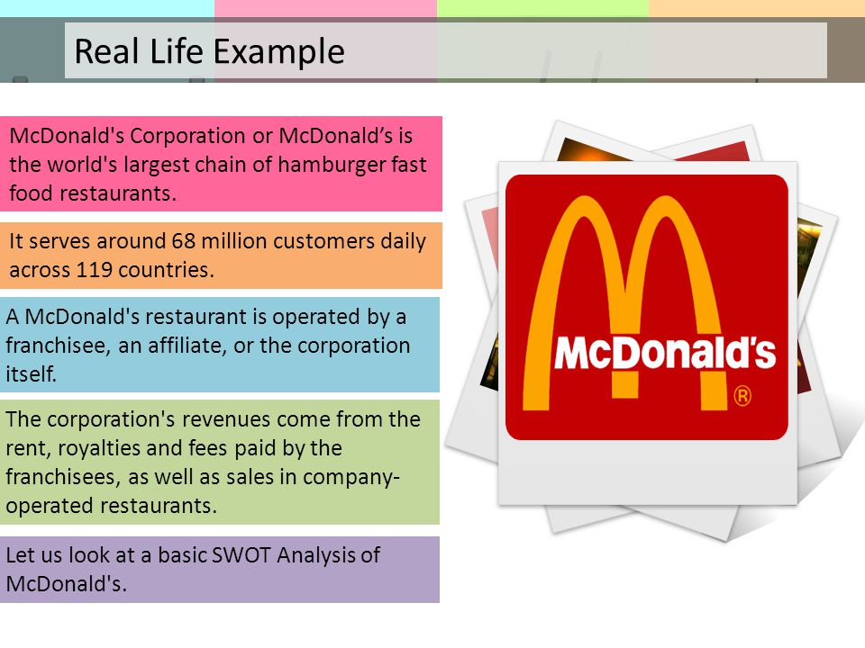 swot analysis of mcdonalds s Growing dining-out market swot analysis - threats mature/overstored industry strength of competition more health-conscious consumers horizontal integration ² purchase competition with differing target markets mcdonald  cheryl wilcox dale brockway marc camerlin belisa anzalotti.