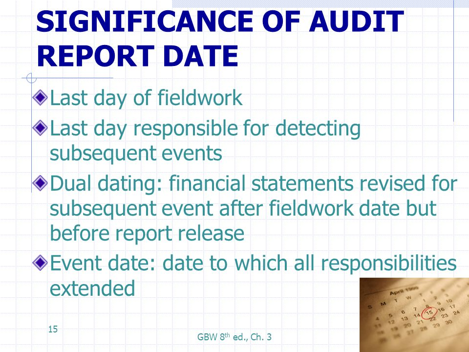 Dual dating financial statements
