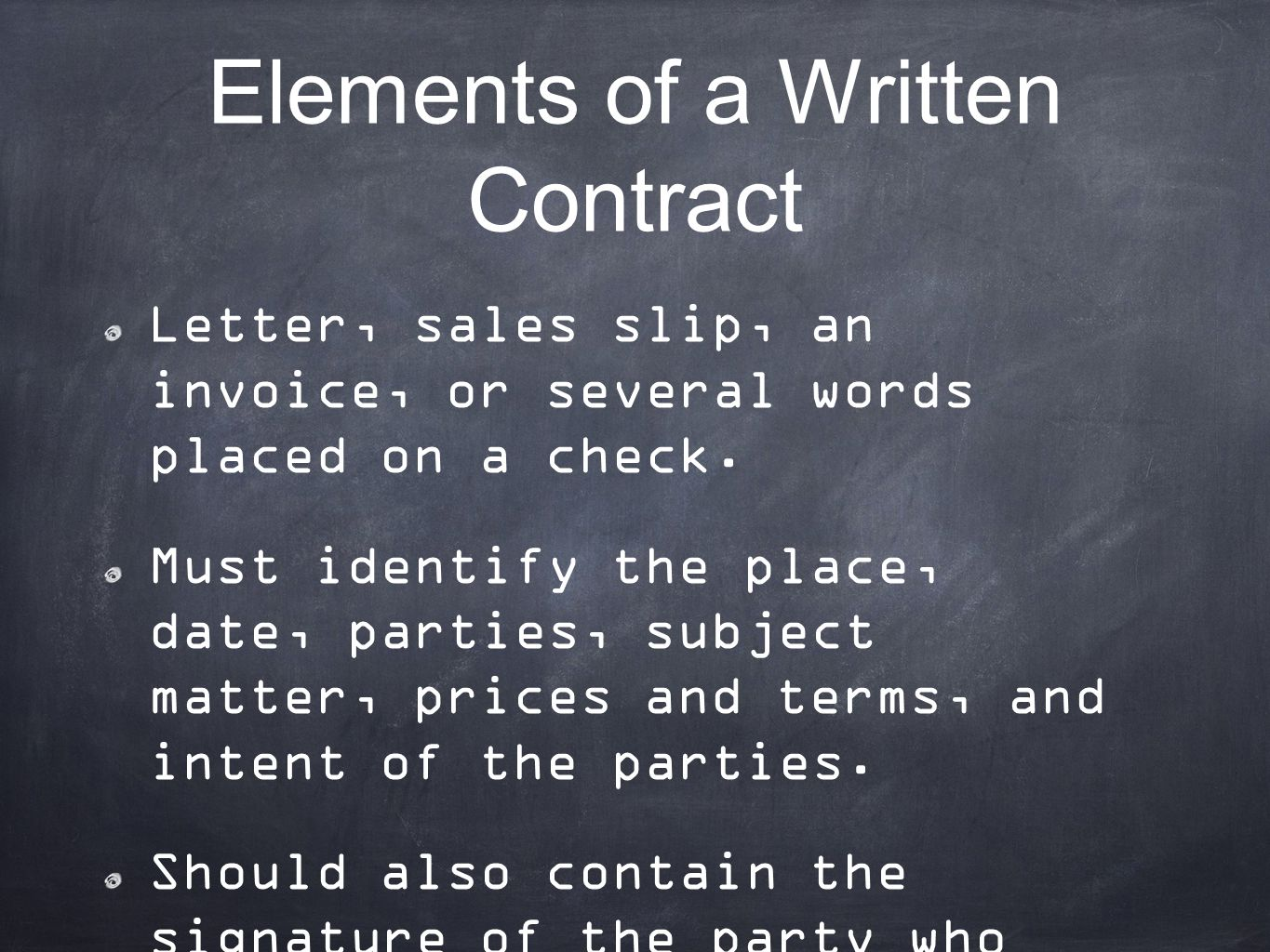 Elements of a Written Contract