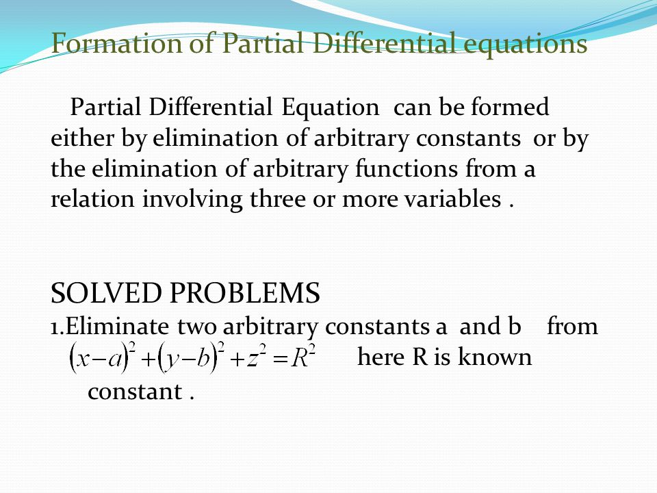 PARTIAL DIFFERENTIAL EQUATIONS - ppt video online download