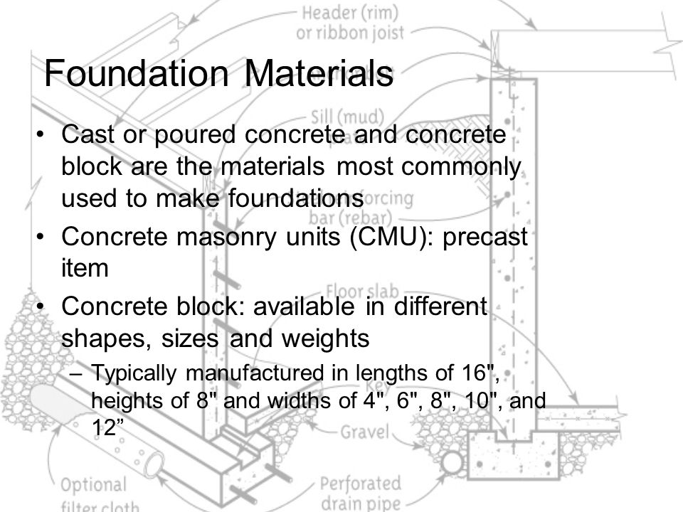 Foundation Materials Cast or poured concrete and concrete block are the materials most commonly used to make foundations.