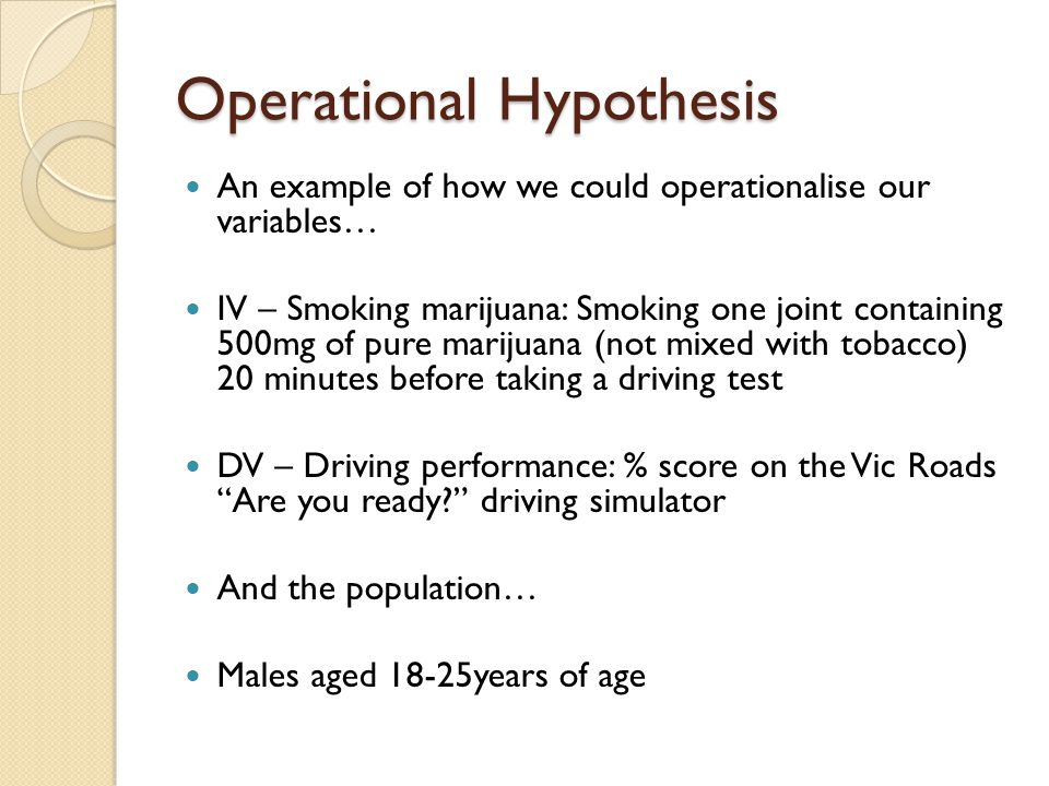 Operational Hypothesis