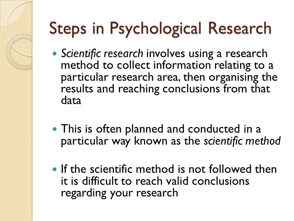 Steps in Psychological Research