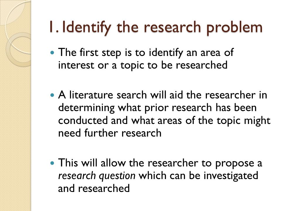 1. Identify the research problem
