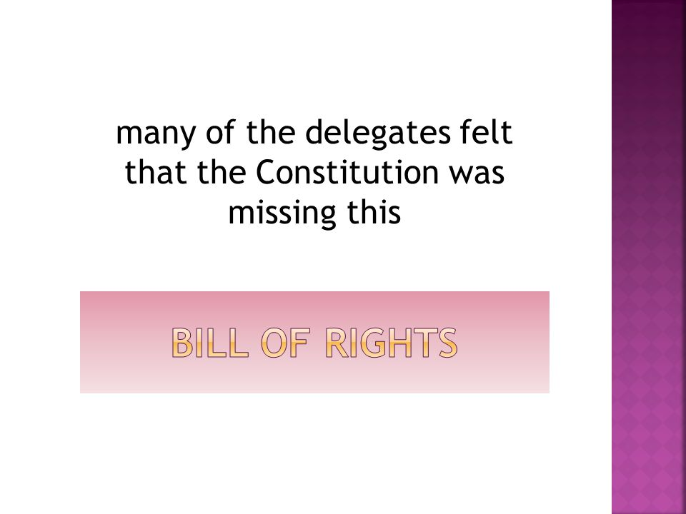 many of the delegates felt that the Constitution was missing this