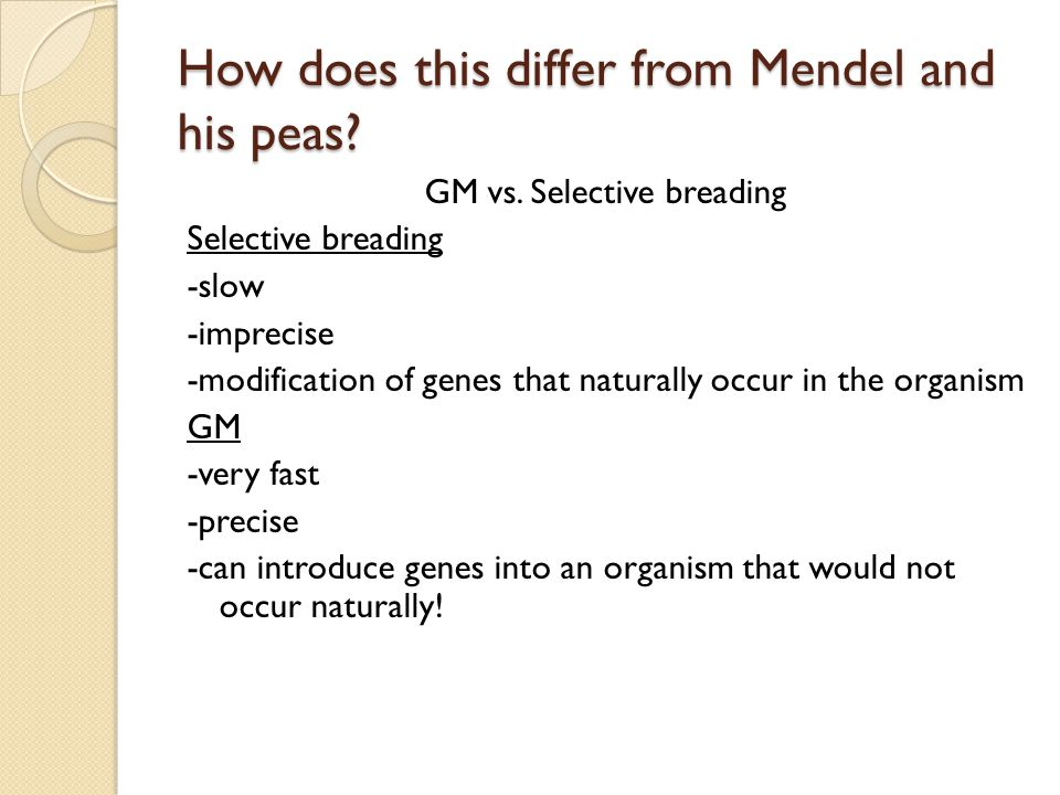 How does this differ from Mendel and his peas