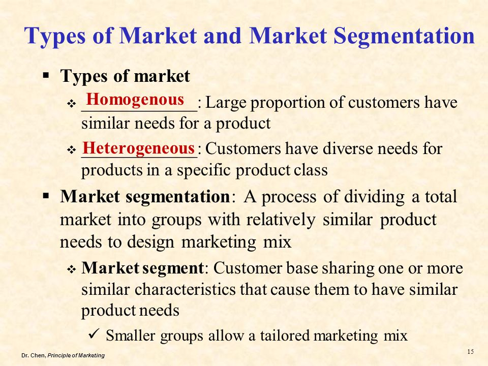 marketing mix of company segmenting the markets Differentiated marketing segment 1 segment 2 segment 3 company marketing mix segment 1 segment 2 segment 3 c concentrated marketing  market targeting choosing a market-coverage strategy company resources 7-17 product variability product's stage in the product life cycle market variability competitors' marketing strategies step 2.