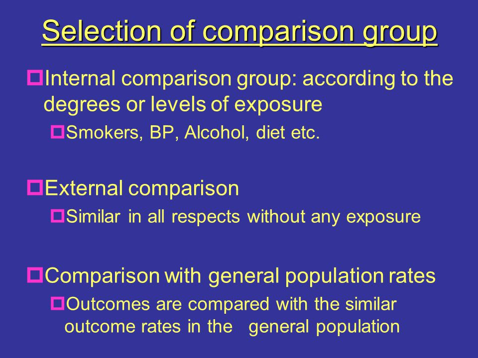 Selection of comparison group