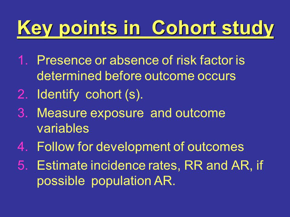 Key points in Cohort study