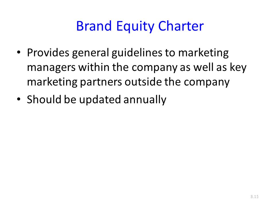 Brand Equity Charter Provides general guidelines to marketing managers within the company as well as key marketing partners outside the company.