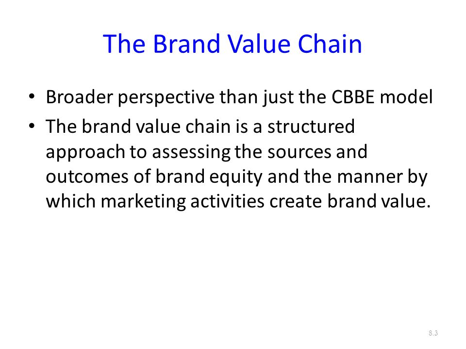 The Brand Value Chain Broader perspective than just the CBBE model