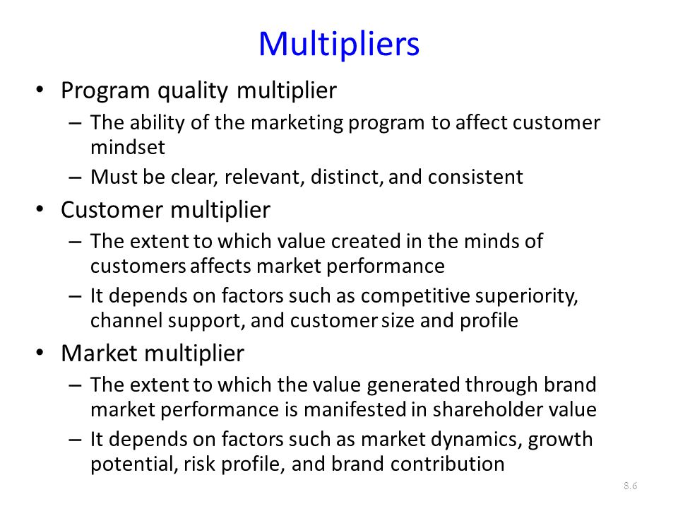 Multipliers Program quality multiplier Customer multiplier