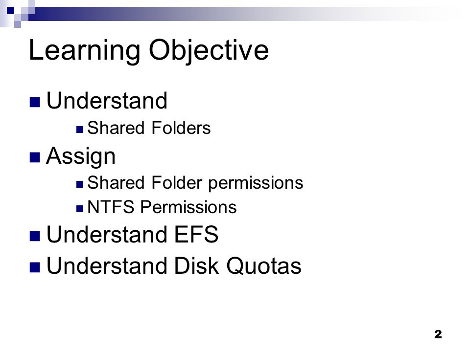 File systems security: Shared folders & NTFS permissions, EFS Disk
