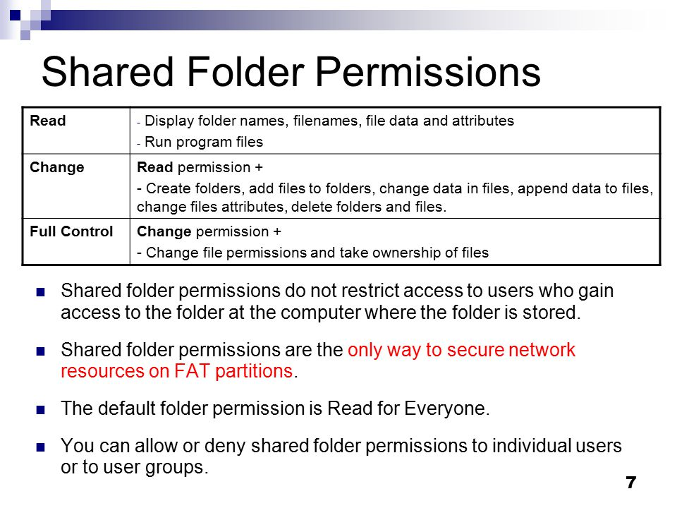 File systems security: Shared folders & NTFS permissions
