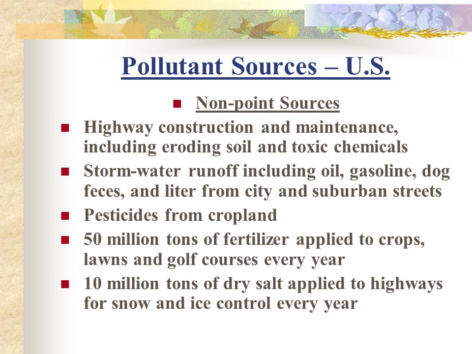 Pollutant Sources – U.S. Non-point Sources
