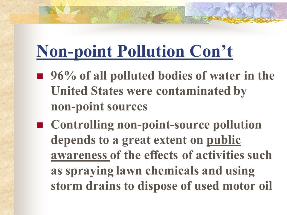 Non-point Pollution Con't