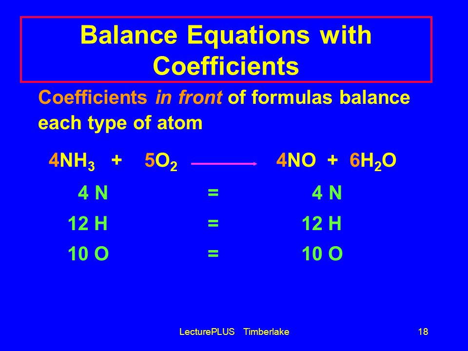 Balance Equations with Coefficients