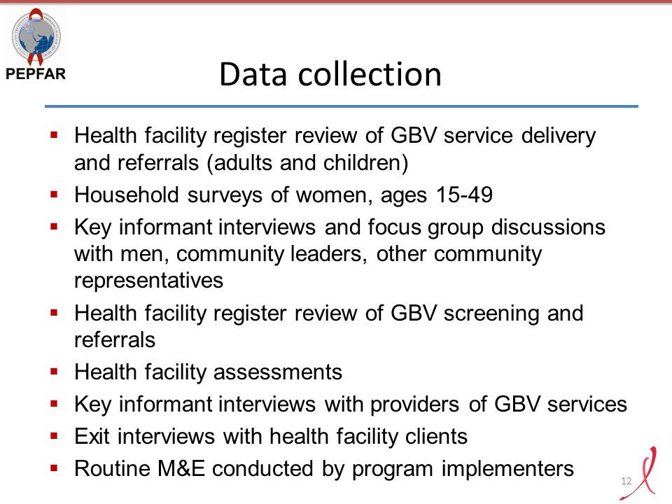 Data collection Health facility register review of GBV service delivery and referrals (adults and children)