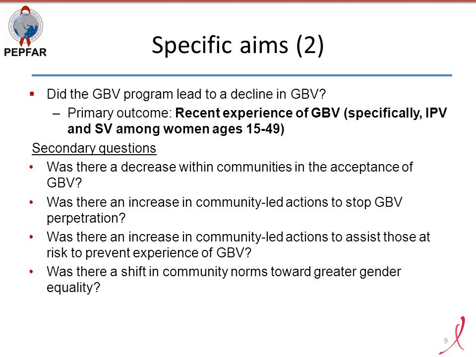 Specific aims (2) Did the GBV program lead to a decline in GBV