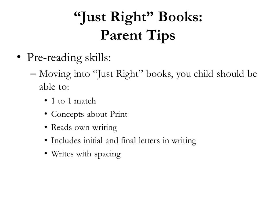 Just Right Books: Parent Tips
