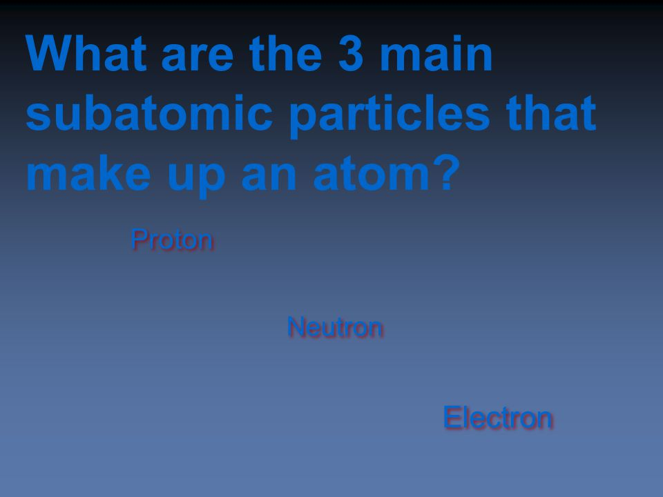What are the 3 main subatomic particles that make up an atom