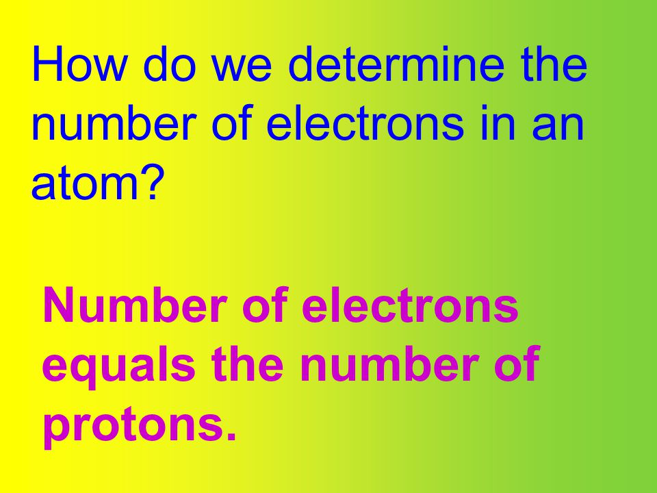 How do we determine the number of electrons in an atom