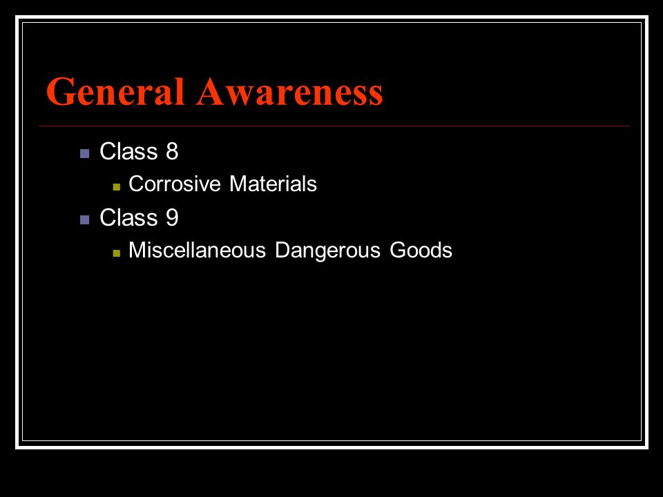 General Awareness Class 8 Class 9 Corrosive Materials