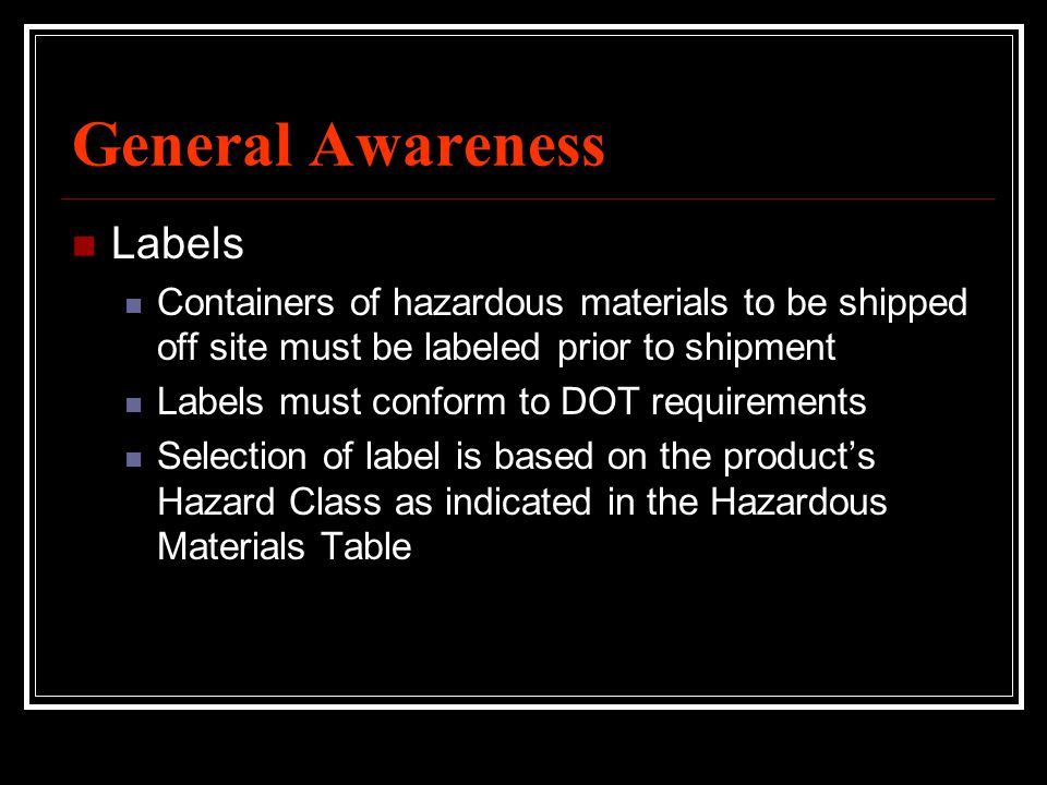 General Awareness Labels