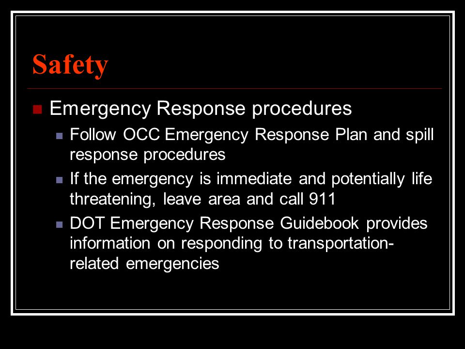 Safety Emergency Response procedures