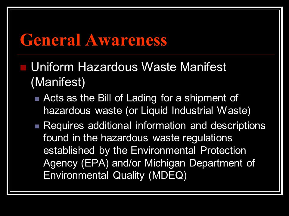 General Awareness Uniform Hazardous Waste Manifest (Manifest)